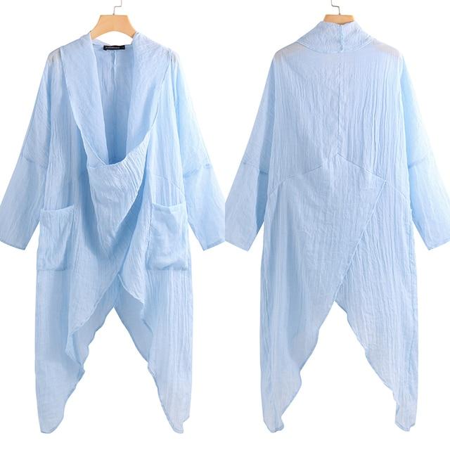 2019 Celmia Plus Size Women Tops and Blouses Vintage Long Shirt Casual Cowl Neck Long Sleeve Loose Asymmetrical Blusas Femininas 5