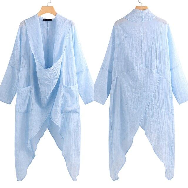 Celmia gran oferta de talla grande mujeres Tops y blusa 5XL Vintage Camisa larga Casual capucha cuello de manga larga asimétrica Blusas femeninas 4