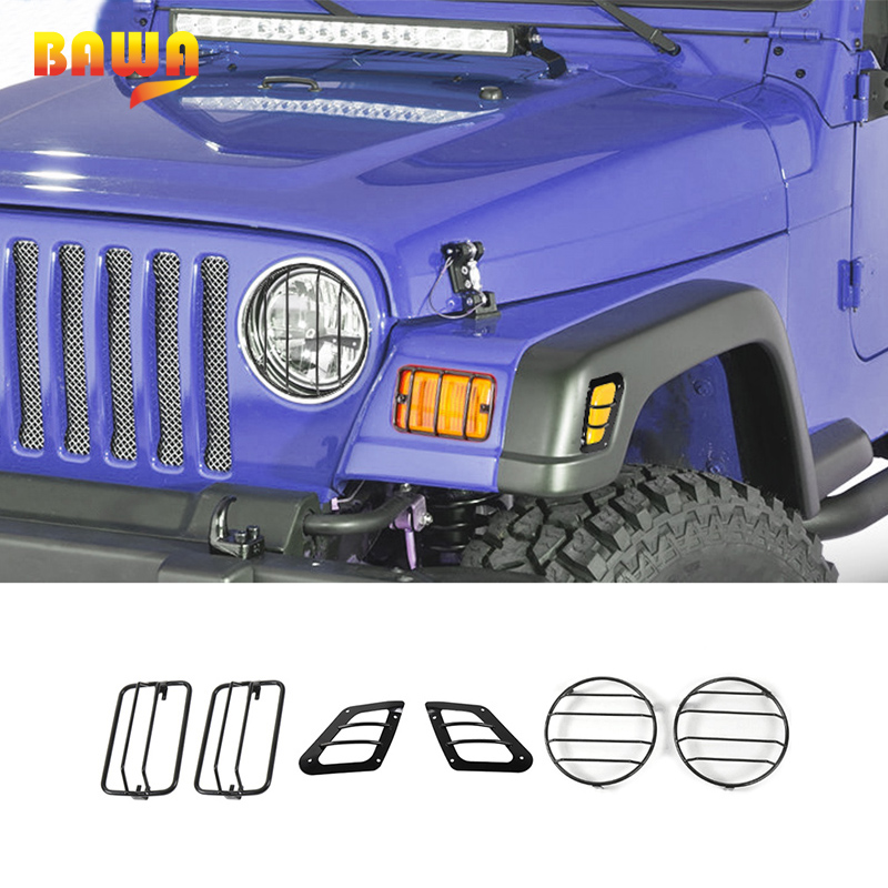 BAWA Lamp Hoods Wheel eyebrow Turn Singal Cover for Jeep Wrangler TJ 1997 2006 Metal Car Turn Signal Light Decoration