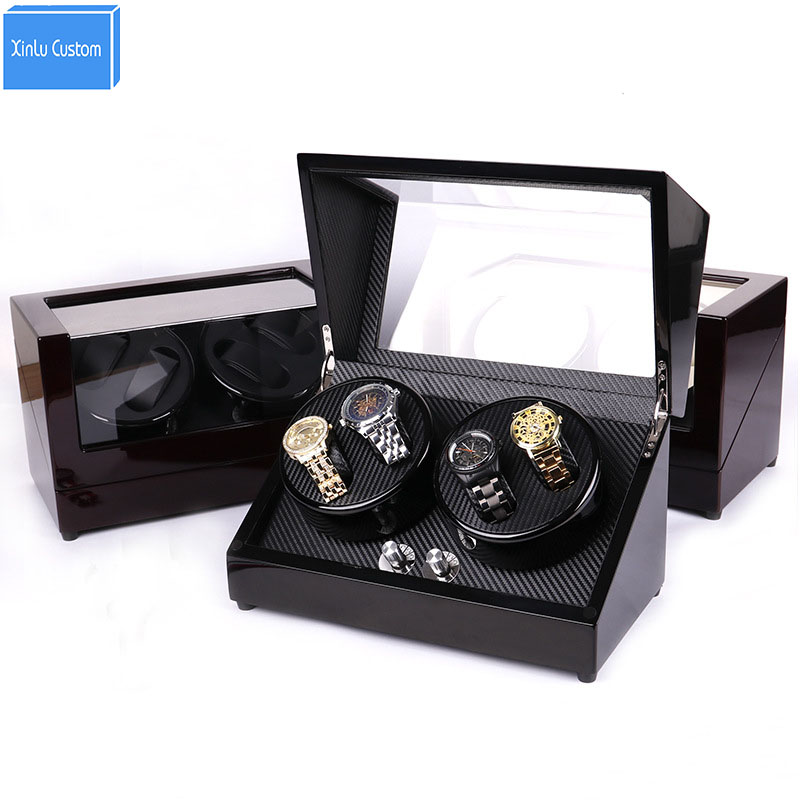 Watch winders for automatic watches 4 color 4 watches rotate display japan mabuchi motor wood leather knob case display cabinet watch winders case cabinet grids rotate watch motor machine box gift world use safe plug watches watch winders drop shipping new