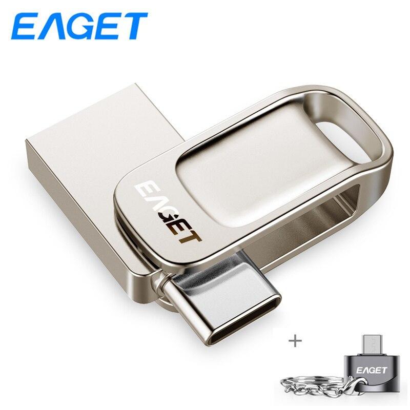 Eaget CU31 OTG USB Flash Drive 128gb 64gb 32gb Metal Mini Pen Drive 64gb Key USB 3.0 Memory Stick Flash Disk With Free Adapter