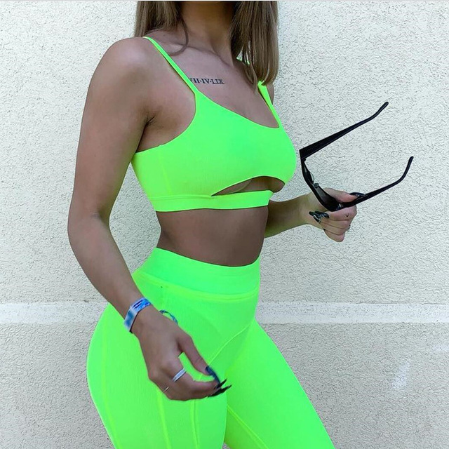 Zmvkgsoa New Sexy Neon Short Two Piece Set Crop Tops And Biker Shorts Bodycon Matching Sets Summer Clothes For Women Y11633