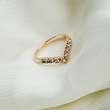 Gold Silver Ring Heart V Shape Rhinestone Cubic Zirconia Crystal Finger Rings Women Girls Engagement Wedding Bands Jewelry