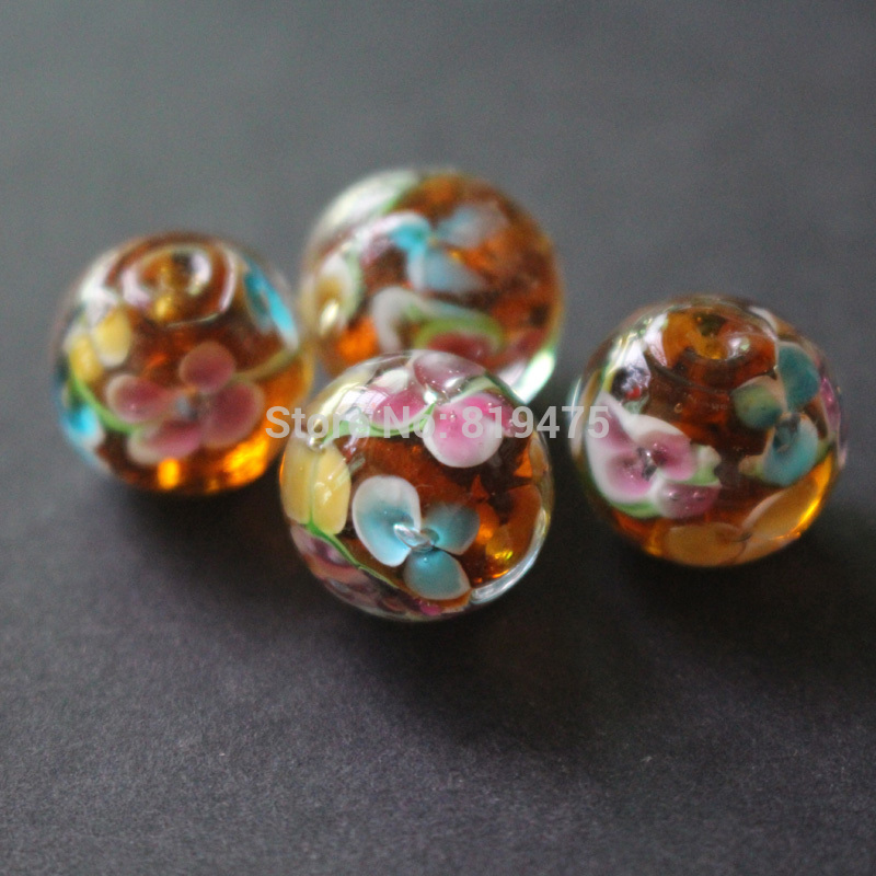 10pcs 14mm Handmade Glass lampwork beads Flower Beads brown color for jewelry making Wholesale and Retail
