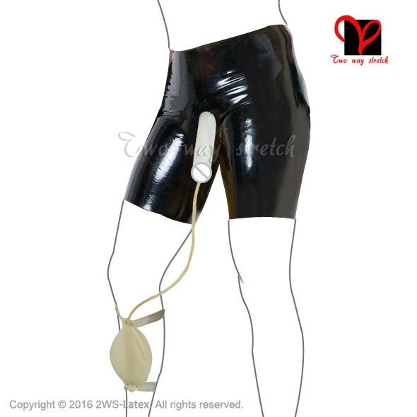 Sexy Latex préservatif longue jambe boxer court pisse Collection sac en caoutchouc bermuda pénis gaine sous-vêtements coq hotpantalon sous-vêtements KZ-086