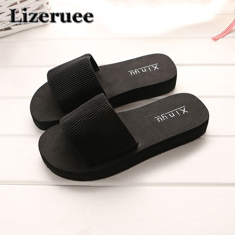 Summer Woman Shoes Platform Bath Slippers Wedge Beach Flip Flops High Heel Slippers For Women Brand Black EVA Ladies Shoes Q62