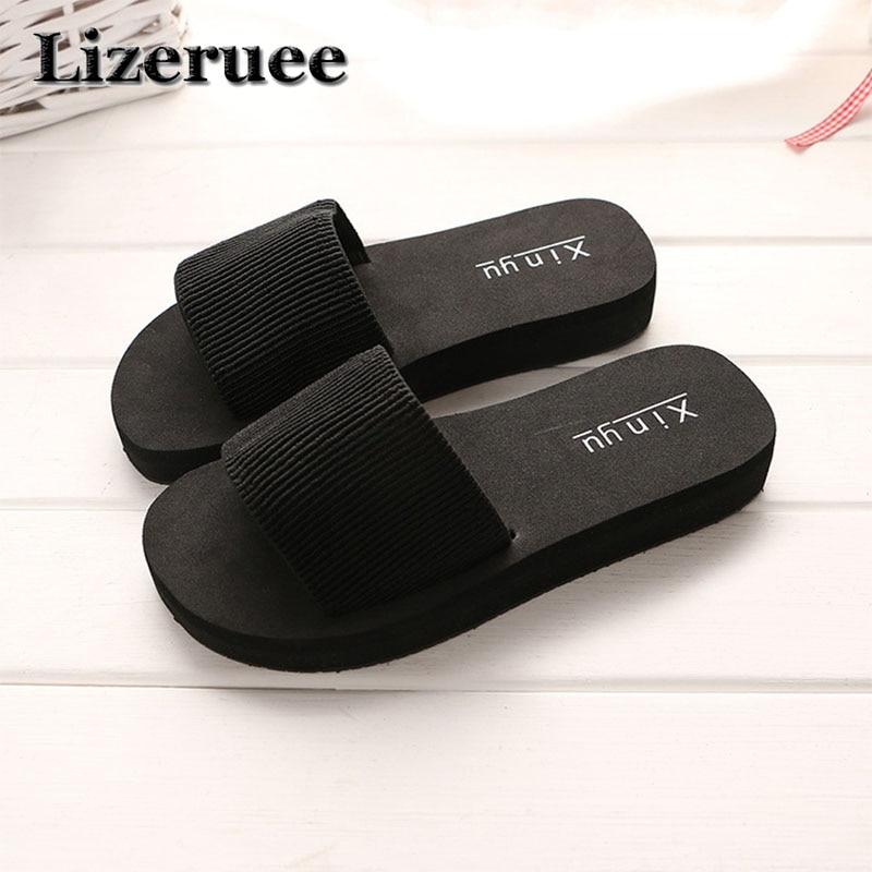 Summer Woman Shoes Platform Bath Slippers Wedge Beach Flip Flops High Heel Slippers For Women Brand Black EVA Ladies Shoes Q62