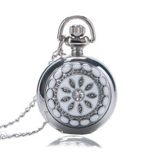 Elegant Women's Silver & White Crystal Case Quartz Fob Pocket Watches with Pendant Sweater Necklace Chain for Ladies Girls