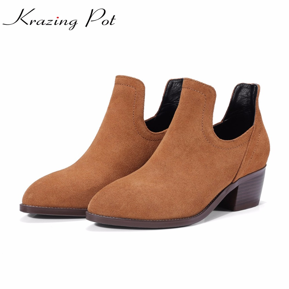 Krazing Pot high street fashion cow suede boots winter med heels European pointed toe women fashion office lady ankle boots L68 krazing pot cow suede real leather autumn winter pointed toe buckle thick high heels women office lady tassel ankle boots l05