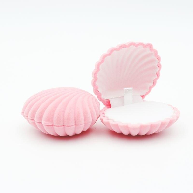 1 peça forma de concha linda veludo casamento caixa de anel de noivado para brincos colar pulseira jóias exibição caixa de presente titular