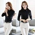 Projeto Uniforme Pantsuits formais Com Tops E Calças Slim Moda Primavera Queda Calças Define Uniformes Ladies Escritório Shirts Feminino