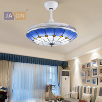LED Mediterranean Sea Iron Glass ABS Blue Ceiling Fan LED Lamp.Ceiling Lights.LED Ceiling Light.Ceiling Lamp For Foyer
