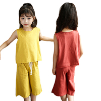 Girls Clothing Sets Cotton Sleevless T Shirts Trousers 2Pcs Summer Girls Outfits Children Wide Leg Pants