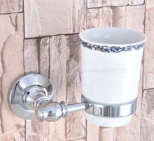 Wall Mounted Cup & Holders Polished Chrome Cups Toothbrush Holder Bath Hardware Sets Single Cup Holder zba789 все цены