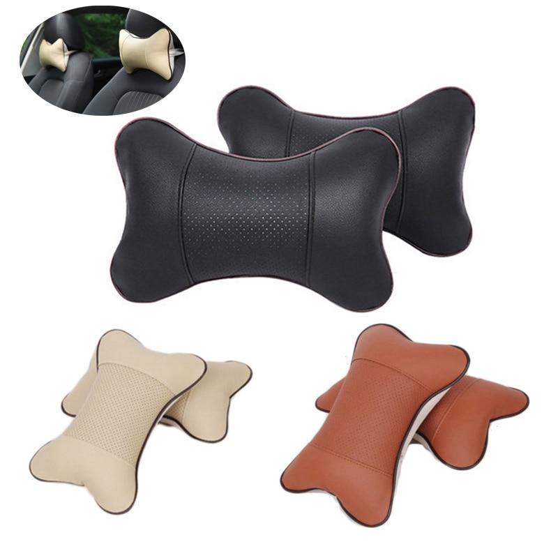 2pcs car PU headrest seat neck pillow four seasons common bones pillow car headrest neck pillow
