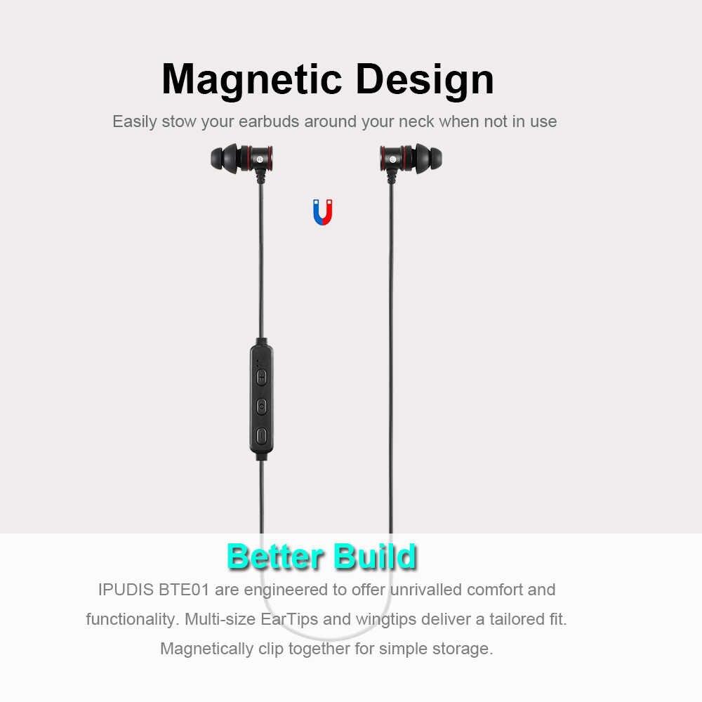 IPUDIS マグネット金属スポーツの Bluetooth イヤホンワイヤレスインナーイヤー型ステレオヘッドセットとマイク