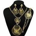 Elegante conjunto de jóias de ouro de verão nova moda africano grande projeto para o casamento e presente do partido colar pulseira brinco anel