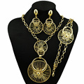 fashionable gold jewelry set summer new fashion african big design for wedding and party gift bracelet necklace earring ring