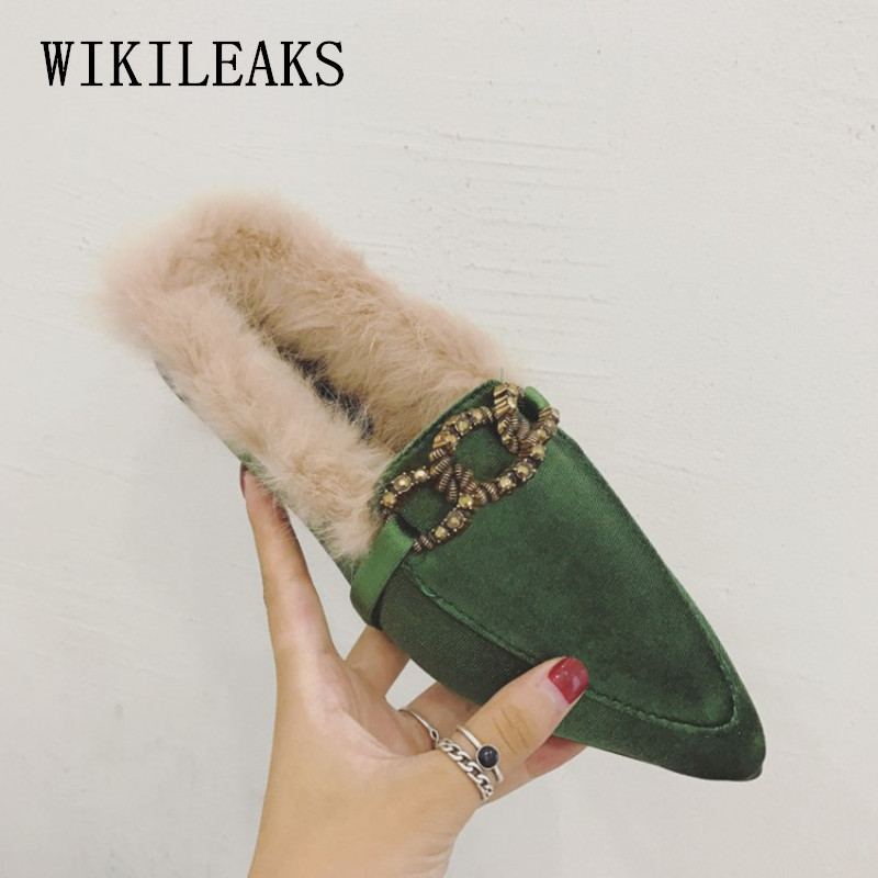 high quality pointed toe ladies shoes women flats luxury brand fur mules zapatillas mujer casual slides chain sapatos feminino new spring autumn women shoes pointed toe high quality brand fashion ol dress womens flats ladies shoes black blue pink gray
