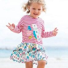 Little maven kids girls fashion brand autumn baby girls clothes striped bird dress Cotton print toddler girl dresses S0521