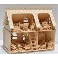 Горячая DIY 3D Burlywood Дом С 34 шт. Набор Мебели, деревянный Миниатюрный Кукольный Развивающие Игрушки Для детских Подарков