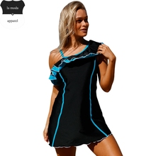 S-XXXL One Piece Swimsuit Pantskirt Black Blue Ruffle Swim Dress Monokinis Swimwear Women Bathing Suit maillot de bain une piece