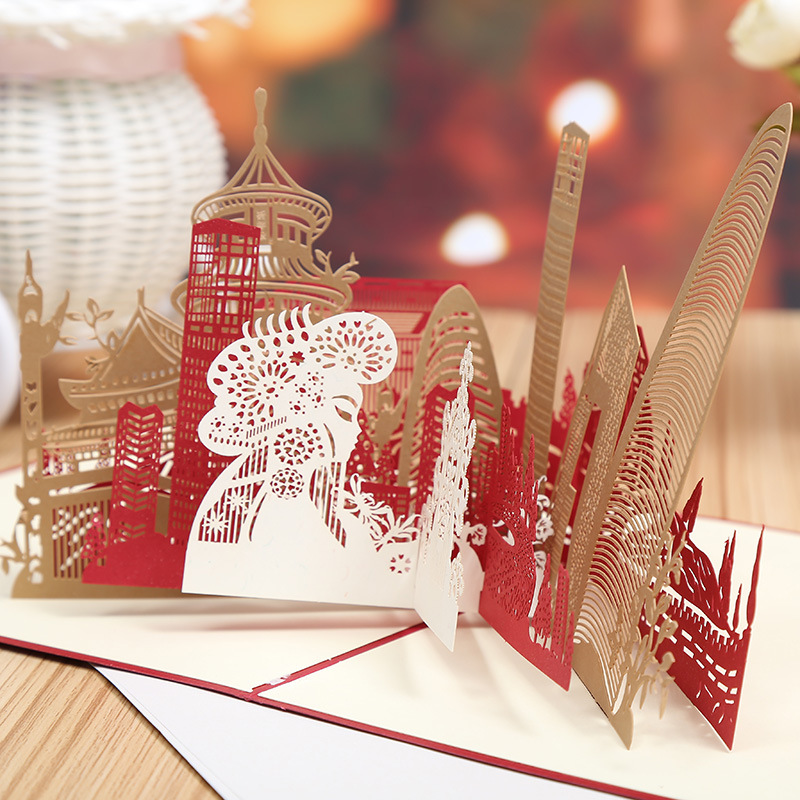 Beijing City factory direct creative hollow building three-dimensional silhouette scenic tourism card selling greeting cards the construction of taj mahal tourism 3d cubic life manual paper card card creative stereo