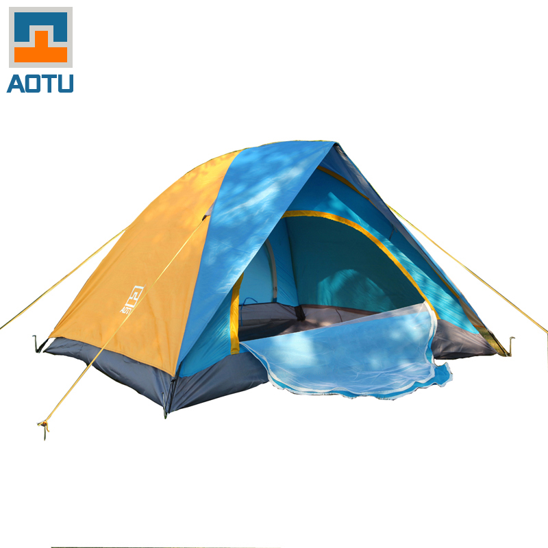 AOTU 4 Person Double Layer Double Door Ultralight Outdoor Hiking Couple Camping Tent Waterproof Picnic Tent outdoor camping hiking automatic camping tent 4person double layer family tent sun shelter gazebo beach tent awning tourist tent
