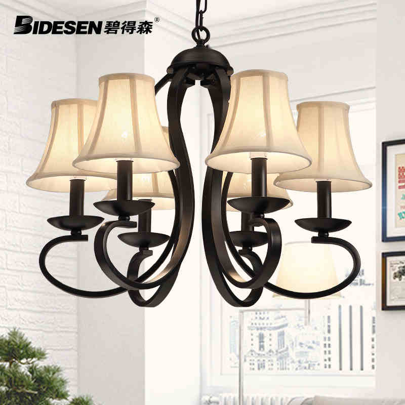 American Countryside 6 Head Black / White Wrought Iron Pendant Light Cloth Art Foyer Light Hotel Lamp D500MM  Free Shipping