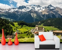 Papel De Parede Houses Mountains Forests Grasslands Photo Wallpaper Living Room Sofa TV Wall Bedroom