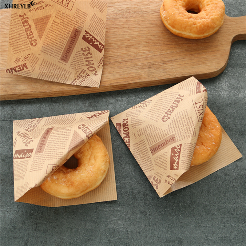 XHRLYLB 50pc English Pattern Food Greaseproof Paper Bag Sandwich Donut Bread Paper Bag Baking Accessories Wedding Decoration.7z