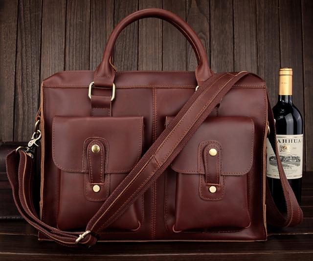 New 2015 High Class Italian Leather Messenger Bag Men Shoulder Bag Men's  Briefcase Genuine Leather Handbag Laptop free shipping