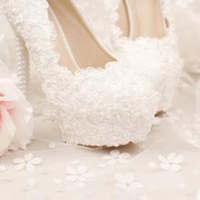 Koovan Wedding Pumps 2017 New Fashion Pearl White Lace Bridal Women Wedding Shoes High Heel Ladies Genuine Leather Shoes
