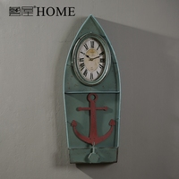 American rustic Industrial time style retro wall colck vintage sailing hanging watch home decor offbeat and chic ornaments