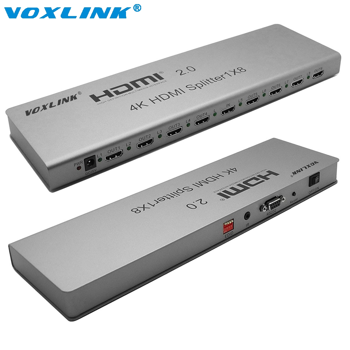 VOXLINK 4K 8Port HDMI 2.0 splitter 1 In 8 Out HDMI Switcher Splitter Support HDCP2.2,IR extension EDID mangement 3D For PS3 DVD