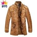 Nueva chaqueta de cuero de los hombres abrigo de lana largo abrigo de cuello de piel chaqueta de cuero de los hombres con trench coat M-4XL