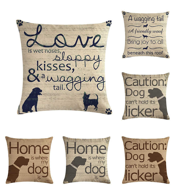Cushion Cover DOG letters Pillow Case Cotton Linen Cushion Cover 45*45cm Sofa Home Decorative Throw PillowZY16