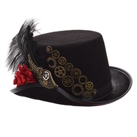 Fedora Hombre Vintage Steampunk Hat Men Women Feather Gear Top Gothic Victorian Unisex Party Headwear