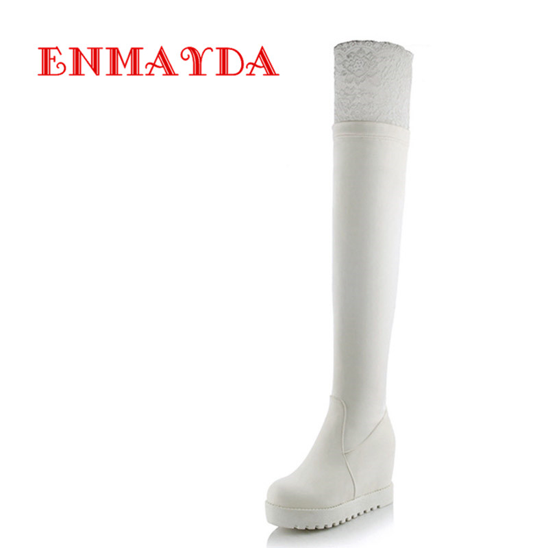 ФОТО ENMAYDA 2 Colors White Shoes Woman Lace Charms High Heels Over-the-knee Boots for Women Winter Warm Long Fashion Platform Boots