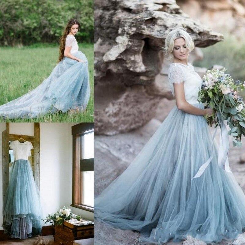 Fairy Beach Boho Wedding Dresses A Line Soft Lace Tulle