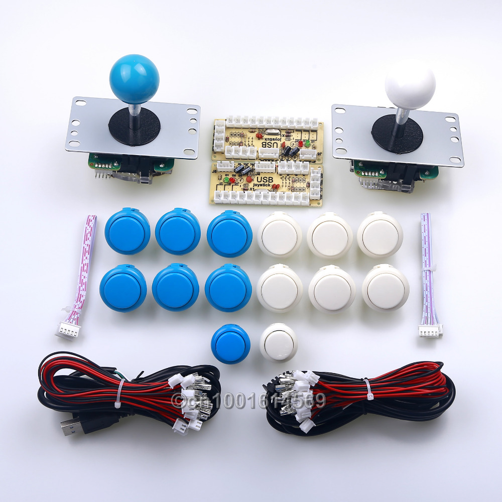 12X Japan SANWA OBSF-30 & 2 X China Reyann Push Buttons + 2 Sanwa Joystick+2 PC Encoders For Arcade Fighting Mame - Blue + White