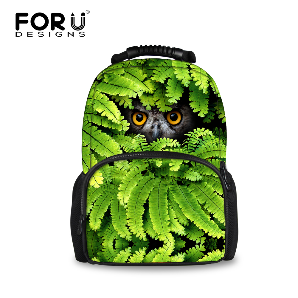 FORUDESIGNS Cool Teenager Boys 3D Animal Backpack Printing Tiger Head Owl Bagpack for Men Felt Children Kids School Rucksack forudesigns 3d printing backpacks for teenager boys girls anime pokemon naruto men felt backpack casual school bagpack mochilas