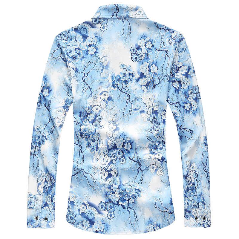 Могу с длинным рукавом Цветочный Повседневное Для мужчин рубашки 2019 Осень Новая мода печатных Гавайские рубашки Slim Fit Азии Размеры M-7XL для мужчин рубашки