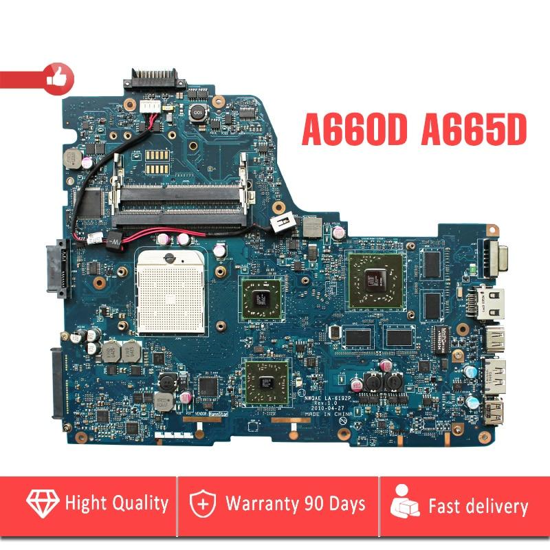 YTAI NWQAE LA-6192P for Toshiba Satellite A660D A665D laptop motherboard NWQAE LA-6192P K000108490 mainboard 100% tested laptop motherboard for toshiba satellite a350 a355 k000070900 la 4571p ktkaa l74 46160551l74 tested good