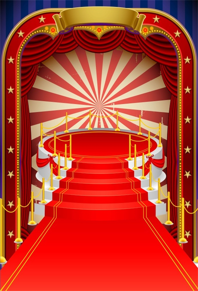 Laeacco Vintage Red Carpet Colorful Vector Curtain Stage Baby Party Scene Photo Backgrounds Photographic Backdrops Studio