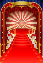 Laeacco Vintage Red Carpet Colorful Vector Curtain Stage Baby Party Scene Photo Backgrounds Photographic Photo Backdrops