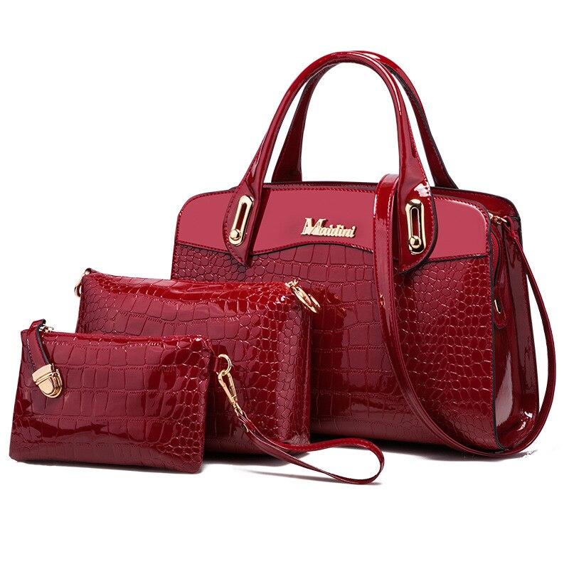 Offen 3 Pcs Neue Mode Alligator Frauen Handtaschen Patent Leder Damen Schulter Taschen Weibliche Mädchen Marke Luxus Crossbody Verbund Tasche Hohe Sicherheit