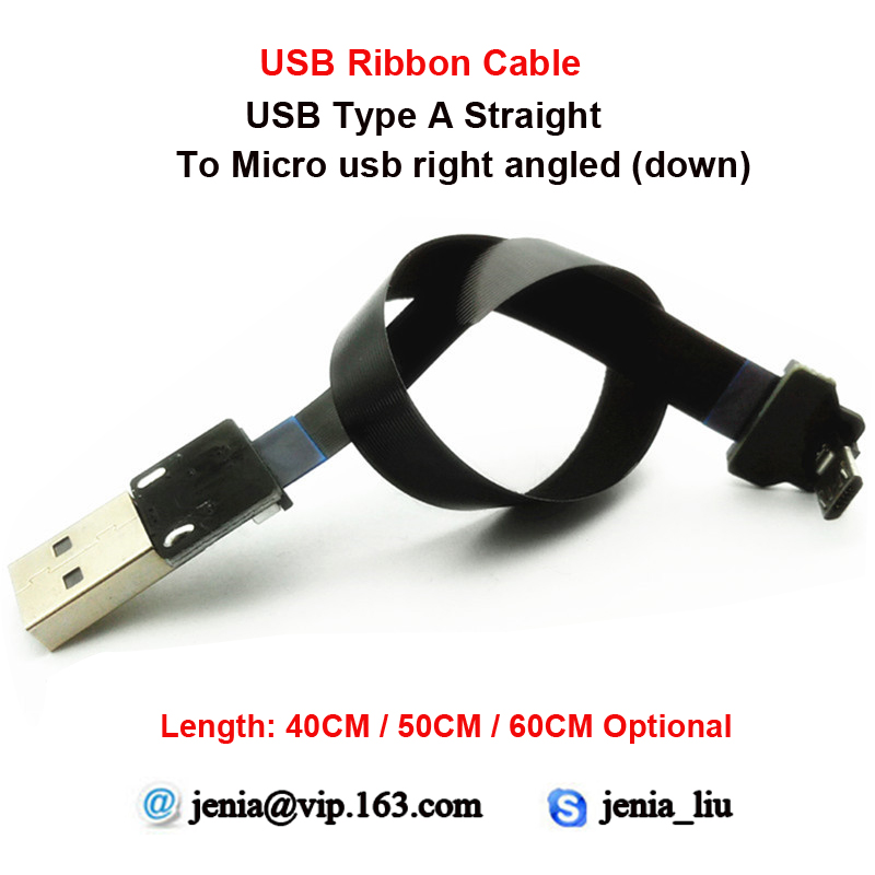 40CM/50CM/60CM Ultra Thin USB Flat ribbon cable Standard type A to male Micro down angle for PC Camera Printer or camcorder 40cm 50cm 60cm ultra thin usb flat ribbon cable type c straight to male micro down angle line connector