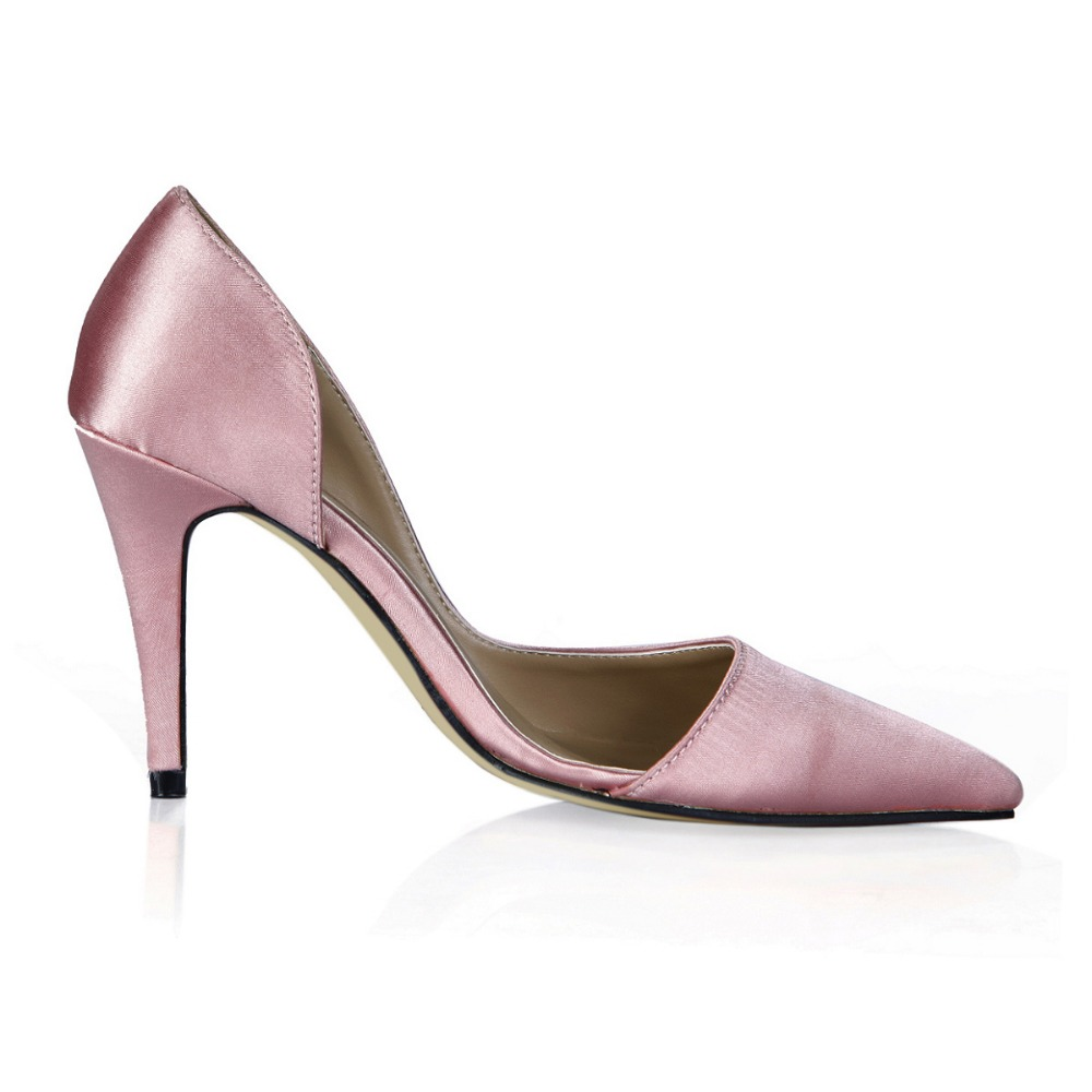 new 2018 hot pink plus size 35-43 women side hollow single shoes fashion silk ladies work shoes elegant thin high heels pumps brand new hot sexy women nude pumps black pink apricot ladies formal shoes high heels aqb 2 plus big size 43 10