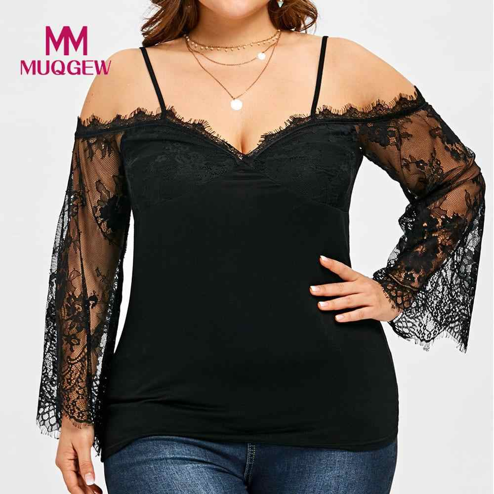 2018 Grote Maat Vrouwen Off Shoulder T-Shirt Kant Lange Mouw Casual Tops Kant stiksels strapless T-shirt top lange mouw
